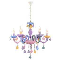 Lámpara de techo para niños online-Moderno LED luces de araña Kid Room Colorful Crystal Metal Fixture de luz dormitorio niños lámpara de techo interior decoración del hogar