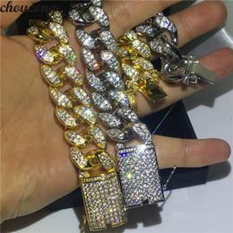 2019 gold-diamant-tennis-armbänder Luxus Kuba Big Hiphop Armband Weißes Gelbgold Gefüllt Micro Pave Diamant Party Jubiläum Armbänder für Männer Rock Jewerly günstig gold-diamant-tennis-armbänder