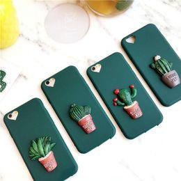 Grüne 3d fall online-3d kaktus kawaii soft phone case silikon für iphone cover x xr xs grün coque für iphone7 8 plus nette fällen