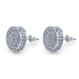Hip Hop di alta qualità Iced Out brillante color argento oro orecchini tondi per le donne Uomini moda orecchini zirconi cubici da