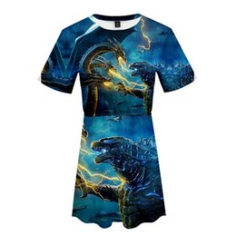 2019 Yeni Yaz 3D Godzilla 2: Canavar Kral popüler Pamuk Harajuku Kadın Tişörtü kısa Kollu Rahat Harajuku Hip Hop Elbise supplier new hip hop dress nereden yeni hip hop elbise tedarikçiler