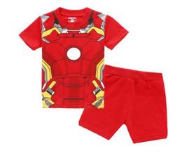 Männer kurze hosenkarikatur online-Kinder cartoon pyjamas mode design coole jungen Iron Man kurze und kurze hosen baby boy sleepwear 100%