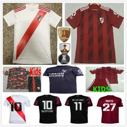 Assiettes en Ligne-2019 River Plate 2020 70 ans de Stripes Maillots de football Pratto QUINTERO MARTINEZ PONZIO PEREZ Personnalisé Adulte Enfants Domicile Extérieur Football shirt