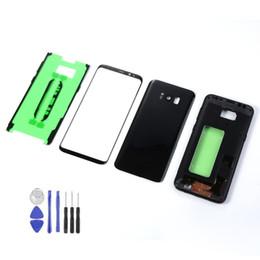 Para Samsung Galaxy S8 + S8 Plus G955 G955F Carcasa Cubierta de batería de marco intermedio + Sensor de pantalla táctil frontal LCD + Adhesivo + Herramientas desde fabricantes