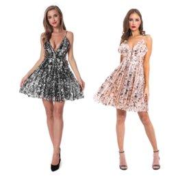 Vestito di paillette aperto indietro sexy della bretella di 2019 nuova delle donne da vestito dalla tasca della stampa stella fornitori