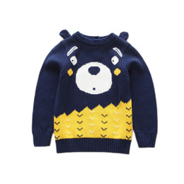 cute girls cardigans cotton Coupons - Cute Kids Girls Cartoon Bear Design Sweater Tops Candy Blue Color Pull Over Spring Autumn Fashion Western Blouse Tops