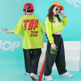 Trajes de camisa de dança on-line-Crianças Hip Hop Dance Costume recortada camisola do Hoodie T Shirt Calça Casual para Meninas Meninos Roupas de salão desgaste Dancewear