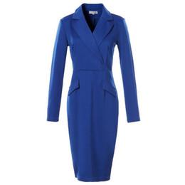 Automne Femmes Robe Costume 2017 Dames Soirée Ceintures Robe Costumes Slim Bouton Poche Travail De Travail Porter Noir Élégant Robes De Soirée ? partir de fabricateur