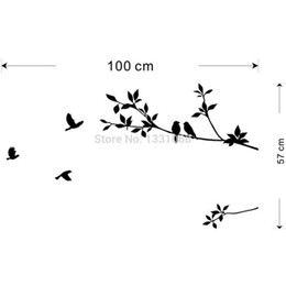 Stickers muraux oiseaux noirs en Ligne-Black Bird Tree Branch sticker mural Citation Sticker Amovible Art Home Mural Décor Décoration Flying Birds Stickers 100 x57 cm