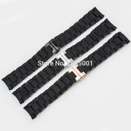 steel push button Promo Codes - Black Rubber Wrapped Stainless Steel Solid WatchBand for AR5920 AR5906 AR5905 Curved End Strap with Push-button Clasp 20mm 23mm