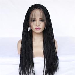 peluca rizada ombre azul blanco Rebajas Peluca de trenza de caja larga de alta calidad Trenzado peluca delantera de encaje sintético trenzas de trenzas negras pelucas de encaje para mujeres negras