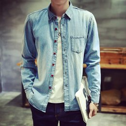 leichte denimhemd männer Rabatt Casual Denim Shirt Männer Langarm Light Blue Shirt Männer Mode Jugend dünne Baumwoll Denim