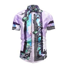 Camicie viola scozzese online-True Reveler uomo manica corta viola camicie grata stampa fiori rosa estate moda viola plaid camicetta top club partito