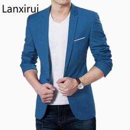 03df274c2f2 Mens coreano Slim Fit moda chaqueta de algodón traje chaqueta negro azul  más el tamaño M a 3xl Blazers masculinos abrigo para hombre boda 5XL moda  coreana ...