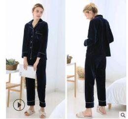 Raglan manica seta online-Pantalone da uomo a maniche lunghe a maniche lunghe vestito a due pezzi pigiama di seta per la pigiama set per uomo M L XL ordine di spedizione libero della nave