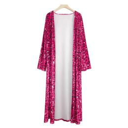 Camisa de impressão de tamanho muito maior on-line-2019 Outono Kimono Cardigan Do Vintage Mulheres Tops Solto Leopardo Impresso Blusa Ocasional Praia Cover Up Camisa Plus Size