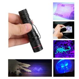 linternas aa Rebajas Zoomable LED UV Linterna Antorcha Luz Ultra Violeta Luz Blacklight UV Lámpara Batería AA Alimentación para el marcador de detección Detección