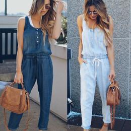 moda cool mujer dama denim Rebajas Denim Wash Overall For Summer Lady Women Fashion Cool Street Blue Plain Women Jeans sin mangas sueltos Mono Pantalones largos Mamelucos