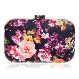 Impresión floral de los bolsos negros online-Dgrain Socialite impresión del estilo chino de la flor de las mujeres negro satinado bolso de noche PU flor colorida embrague monedero banquete de boda bolso de hombro