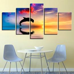 2020 pinturas de delfines Lienzo HD Imprime Fotos Arte de la Pared de la Sala 5 Piezas Delfines Nadar Saltar Pinturas Decoración para el hogar Sunset Paisaje Marino Cartel Sin marco rebajas pinturas de delfines