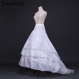 Cappotti bianchi di lolita online-JaneVini Adult A Line Sottoveste Bianco Sottotuta Sottotuta Abiti da sposa Jupon Lolita 2 Hoops 3 Strati Matrimonio Cappotto
