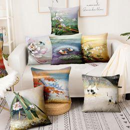 2019 almohadas finas Vintage Japón Scence Thin lino funda de almohada Kyoto Nara Mikage Inicio almohada decoración Almofadas Decorativas para sofá Throw Pillow almohadas finas baratos