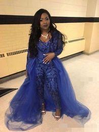2019 foto nua quente Royal Blue Mangas Compridas Vestidos de Noite Lantejoulas com Tirt Overskirt Jumpsuit Calças Terno Prom vestido de Baile Formal Ocasião Desgaste