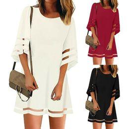 Vestidos de ebay online-2009 Amazon Wish Express El nuevo vestido de mujer de eBay con hilado de malla empalmado Bell Sleeve A en forma de vestido de falda