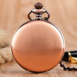2019 antike taschenuhr fobs Glatter Antique Classic Case Red kupferner Taschen-Uhr-Mann-Frauen-Quarz-Analog-Anzeigen-Uhr mit FOB-Anhänger-Ketten-Geschenk günstig antike taschenuhr fobs