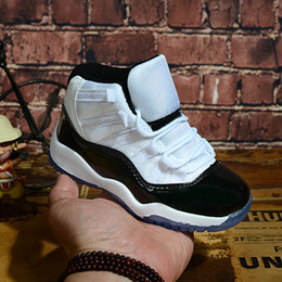 Chico cortado online-Niños 11 XI 11 s Concord 45 blanco negro niño niña zapatos de baloncesto High Cut Children Toddler Entrenadores al aire libre Deportes de moda zapatillas de deporte 28-35
