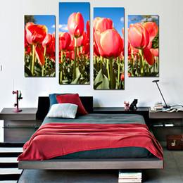 Canada 4 PCS Moderne Plante Rouge Fleur Tulipes Photo Art Prints Affiche Mur Image Toile Peinture No Frame Home Deco Intérieur cheap interior painting pictures Offre