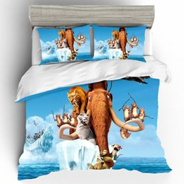 Set di animali da letto per bambini online-Mammoth Home Textile copripiumino personalizzato lenzuola e federa Set Cartoon Animal King Size Bedding Set di Dropshipping per i bambini