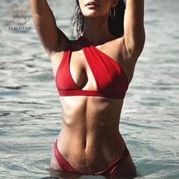 Una spalla bikini 2019 mujer Sexy rosso costume da bagno femminile Push up costume da bagno da bagno donna biquini nuovo vestito a due pezzi da