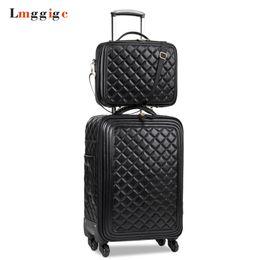 Koffer räder online-Damen Gepäckset, Hochwertige PU-Leder-Koffertasche, Universalräder, Carry-Ons, Gittermuster-Träger, Trolley, Dragbox