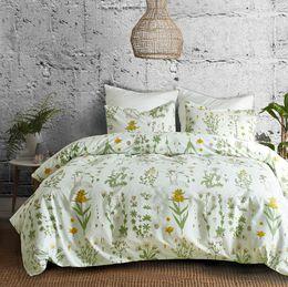 copriletti verde chiaro Sconti Set copripiumino botanico 2/3 pezzi Copriletto con motivo floreale stampato a fiori e foglie verdi