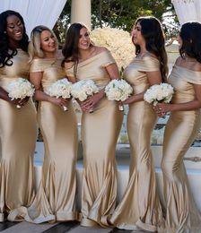 Vestido de noiva de seda simples on-line-Simples Champanhe Longo Sereia Da Dama de Honra Vestidos 2019 Fora Do Ombro Seda Elástica Dama De Honra Vestidos de Dama De Honra Vestidos Convidados Do Casamento Vestidos