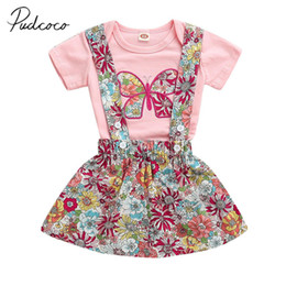 2020 подтяжки для бабочек 2019  New Newborn Infant Baby Girl Clothes Short Sleeve Butterfly Romper Colorful Flower Suspender Skirt 2Pc Summer Outfit дешево подтяжки для бабочек