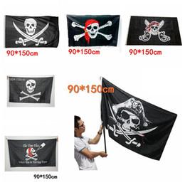 parches de engranajes tácticos Rebajas 90x150cm Big Black Jolly Roger Pirate Flags Props de Halloween Skull Crossbones Swords Black Flags Haunted House Bar Decor AAA729