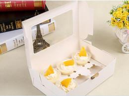 2019 recipientes de sobremesa atacado Favor titulares bolo caixas de bolo do queque cartão kraft caixa de papel 6 Cup Muffin Sobremesa portátil Pacote Box Six presente Tray