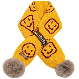 2020 cara de las niñas bufanda De dibujos animados cara sonriente bebé bufanda de los niños de invierno para niños bufanda bufandas niñas suaves muchachos de la bufanda bufandas bufandas niños anillo bebé bebé accesorios A10352 rebajas cara de las niñas bufanda