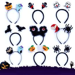 diadema de araña Rebajas niños de Halloween con banda de calabaza araña los muebles de la venda de mostrar Kito hebilla para adultos niños de Santa Claus cintas para el pelo luminosa
