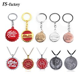 resin ivory Coupons - Wholesale 20PCS Game Nuka Cola Botter Opener Keychain Fallout 4 Beer Cap Shape Pendant Key Chain Women Men Car Keyring Jewelry