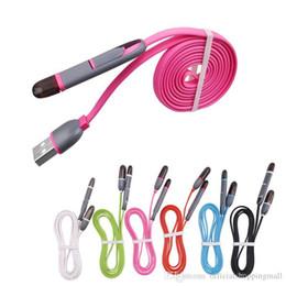2019 cargador de carga retráctil Color mezclado Retráctil 2 en 1 Micro cargador Cable USB 2A Carga rápida Noodle Flat 1m Micro usb Para teléfonos de marca inteligentes para Samsung Android cargador de carga retráctil baratos