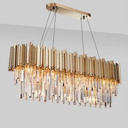 2019 lâmpada de bolha vintage Europa Cristal Modern Lamp Chandelier Para Viver Oval Luxo Ouro Rodada Lâmpada de aço inoxidável Linha Luzes pendentes
