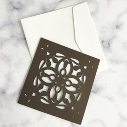 pop up easter cards Coupons - 30pcs 3D POP-UP Wedding Invitation Card Floral Cover Festival Greeting Card Pearl Paper Pure Color Laser Cut Formal Business