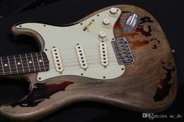 Солнечная вспышка онлайн-Классический Custom Shop 1961 Rory Gallagher Tribute ST Strat ocaster Relic 3 Tone Sunburst электрическая гитара тремоло Tailpiece