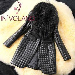2019 синтетическая моющая кожа Fashion Women\'s Long Sleeve Synthetic Leather Fur Collar Coat Jacket Overcoat Hand wash Casual Solid Lapel Black дешево синтетическая моющая кожа