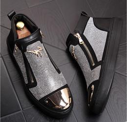 Scarpa casuale mens zip online-argento brillante strass zip Uomo punk uomini scarpe di lusso scarpe Uomo sportivo punk piatto stivali zip alla caviglia