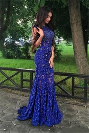 Lace Appliques Beads Sleeveless Mermaid Royal Blue Gorgeous Prom Dress See Through Lace Evening Dress Vestidos De Graduacion