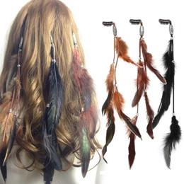 2019 borrachas de plástico para telefone 3pcs / set clipes Mulheres Feather Hairband pente de cabelo, Boho headband headpiece Bohemian Tassel Cabelo Acessórios Hairgrips Folk